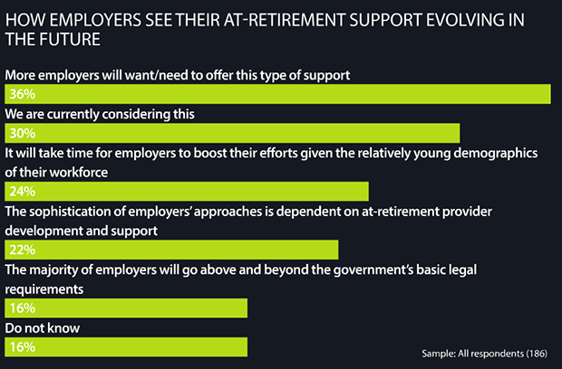 How employees see their at-retirement support evolving in the future